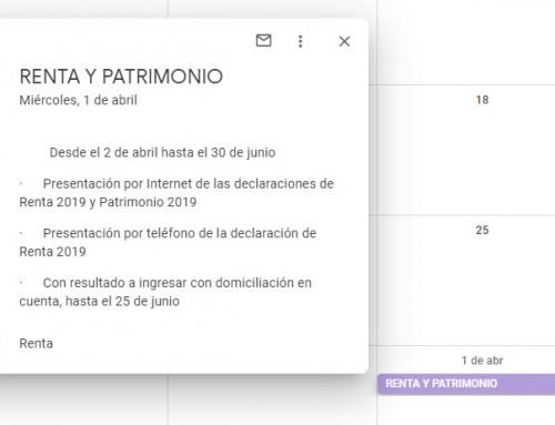 Google Calendar, usos y beneficios para nuestra empresa (1): calendarios del contribuyente